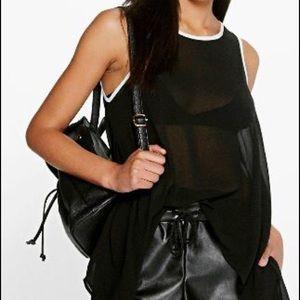 Maisie Contrast Binding Woven Sleeveless Vest